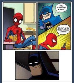 Funny spiderman and batman