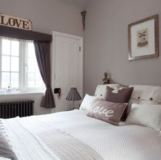 Elephant's Breath paint from Farrow Ball in a bedroom setting, with grey/charcoal and silver accents in this room idea - this colour is so similar to Dulux Mellow Mocha... they could be the same!