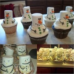 Snowman cupcakes are formed into a #pinterestfail