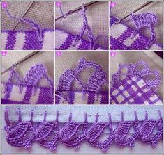 Step by step Crochet Edging Patterns, Crochet Borders, Hobbies And Crafts, Diy And Crafts, Crochet Crafts, My Flower, Crochet Bikini, Elsa, Tassels
