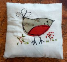Lavender bag, free machine embroidery Christmas Robin and hand embroidered flowers by Hilly Handmade.