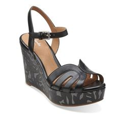 073361cc3cb6 Amelia Page Black Leather - Womens Medium Width Shoes - Clarks Leather  Wedges