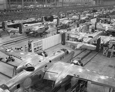 The Kansas City B-25 Factory.This hastily constructed plant produced 6,608 bombers during World War II.The assembly line, circa 1944. After leaving the factory, the aircraft were taken to the paint hangar for washing and application of external markings, including insignia and the serial number, which was applied to the vertical tail.