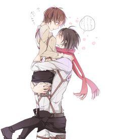 Attack on Titan genderbend so cute! (I don't ship Mikasa and Eren) Mikasa X Eren, Levi X Eren, Attack On Titan Ships, Attack On Titan Anime, Anime Amor, Manga Anime, Anime Meme, I Love Anime, Awesome Anime