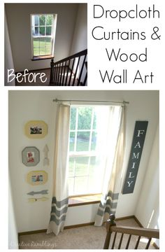 Stairwell landing with painted drop cloth curtains and simple wood wall art from Creative Ramblings