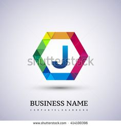 J Letter colorful logo in the hexagonal. Vector design template elements for your application or company logo identity. - stock vector