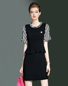 #AdoreWe #VIPme (VIPSHOP Global) CYANINE SEA Black Cotton Bell Sleeve Paneled Striped Sheath Short Dress - AdoreWe.com