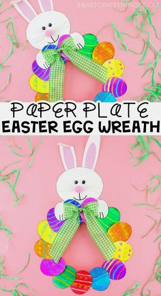 How to Make a Paper Plate Easter Egg Wreath - This colorful paper plate Easter W. - How to Make a Paper Plate Easter Egg Wreath - This colorful paper plate Easter W.How to Make a Paper Plate Easter Egg Wreath – This colorful paper plate Easter Wreath is Bee Crafts For Kids, Easter Art, Bunny Crafts, Easter Crafts For Kids, Projects For Kids, Kids Diy, Easter Ideas, Art Projects, Children Crafts