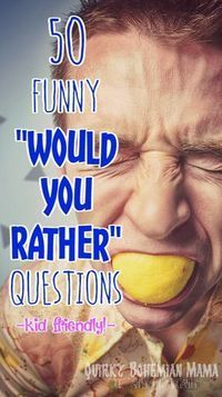 """50 Funny """"Would You Rather"""" Questions for the Whole Family {kid friendly, family night game} - Quirky Bohemian Mama Funny Would You Rather, Would You Rather Questions, This Or That Questions, Couple Questions Funny, Icebreaker Questions For Adults, Funny Questions For Kids, Icebreaker Games For Kids, Icebreakers For Kids, Family Fun Night"""