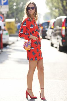 quirky gorilla print red dress and red heels: tribal print cross the shoulder bag