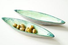 Olive Boat Ceramic Serving BowlSet of 2 Green Olive Bowl by bemika