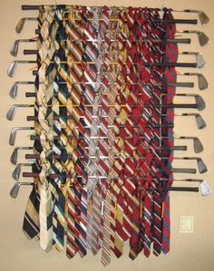 golf clubs, curtain hook to hold them on the wall or long cup hooks  instant tie rack, for scarfs, belts, blankets etc......  put inside the closet door or wall