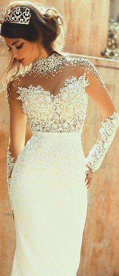 fb13964412 Glamorous Tulle   Satin Illusion High Neckline See-through Sheath Wedding  Dresses With Beaded Lace. Vestidos BellosVestidos De Novia ...