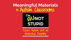 Meaningful Materials for Autism Classrooms