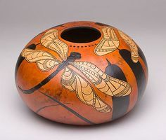 "*Gourd Art - ""Dragonflies"" by Dona Reed Hand Painted Gourds, Decorative Gourds, Gourds Birdhouse, Dragonfly Art, Insect Art, Arte Popular, Indigenous Art, Gourd Art, Beautiful Artwork"