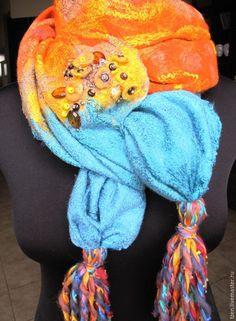 Купить Осенняя лазурь - бирюзовый, оранжевый палантин, солнечный палантин, теплый палантин, палантин с шелком