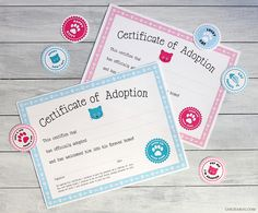 Free printable cat adoption kits at Chickabug.com - available in pink and blue
