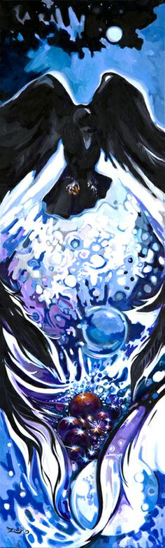 """Raven Brings Abundance"" hand painted by Laura Zollar. All rights reserved. www.laurazollar.com"