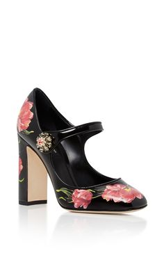 Floral Leather Mary Janes by Dolce & Gabbana Black Leather Shoes, Black Shoes, Pink Leather, Zapatos Mary Jane, Black Mary Jane Shoes, Floral Print Shoes, Embellished Shoes, Decorated Shoes, Pink Shoes