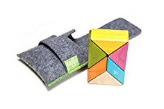 """The perfect toy for building on-the-go! Whether in the car, plane, the diaper bag, the purse, or at the restaurant, now you can """"thinker"""" wherever you are. The Pocket Pouch Prism includes a beautiful felt pouch made for travel, and it includes 2 parallelograms and 4 triangular prisms. Made to fit in almost any pocket, the Pocket Pouch Prism is sure to keep hands (and minds) of all ages fully occupied."""