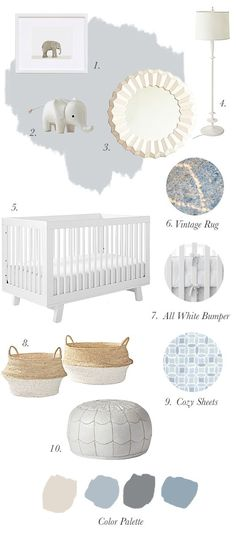 """It's time to finally start sharing the inspiration behind baby Flemming's nursery. boy first"""" girl names nursery stuff Baby Bedroom, Baby Boy Rooms, Baby Boy Nurseries, Nursery Room, Girl Nursery, Girl Room, Kids Rooms, Boy Nursery Colors, Nursery Neutral"""
