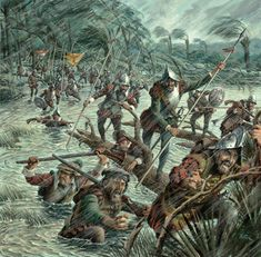 Spanish soldiers successfully attack France's Fort Caroline during a hurricane in September 1565. Fort Caroline was the first French colony in the present-day United States, located on the banks of the St. Johns River in what is now Jacksonville, Florida.