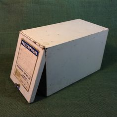 Vintage Prescription File Box Metal with Hinged by KentuckyTrader
