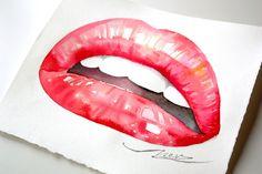 Sexy Red / Pink Lips Original Art Fashion Painting Watercolor Illustration Woman Sensual Erotic Wall art Home decor Elegant Seductive Girl by ScentOfArt on Etsy