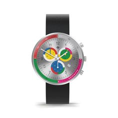 A contemporary British-designed women's chronograph watch. A brushed stainless steel case and spun aluminium dial holds pink, black and yellow subdials. Includes interchangeable striped canvas and black leather strap. Modern Watches, Watches For Men, Men's Watches, Latest Watches, Black Italians, Striped Canvas, Stainless Steel Watch, Italian Leather, Chronograph