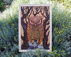 "Wood Watercolor Wall Art "" Owl "", Bird Art,Modern Art,Wall Panel,Wall Decor,Engraving Wood,Laser Artwork,Wall Print,Owl Art, Owl Drawing"