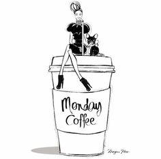#meganhess #mondaycoffee #coffee #drink #girl #pug #illustration