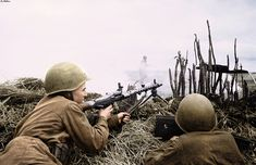 Red Army soldier Fedorov at the firing position with a captured German MG-34 machine gun