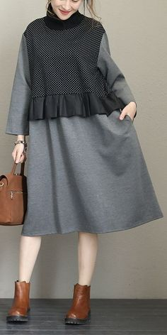 Fall Street Style Outfits Ideas For Women - Ready To Meal Warm Dresses, Simple Dresses, Elegant Dresses, Cotton Dresses, Casual Dresses, Casual Chic Outfits, Warm Outfits, Modest Outfits, Muslim Fashion