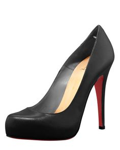 Ooh, the classic black pump, but $800? Although a friend told me these shoes make a woman feel more beautiful ... Dunno if they're worth the investment .. I would ONLY wear on special occasions. BUT, they are beautiful!!! ....... Rolando+Hidden-Platform+Pump+by+Christian+Louboutin+at+Neiman+Marcus.