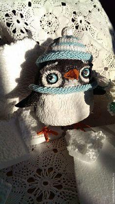 Купить Пингвинчики - Север, пингвиненок, пингвин, авторская игрушка, Новый Год, ёлочная игрушка, птички