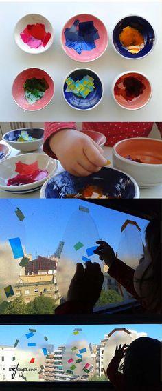 jugar en la ventana con los colores y las transparencias y practicar la psicomotricidad fina Art For Kids, Polaroid Film, Projects, Crafts, Ideas, Learning, Creativity, Educational Games, Easter Eggs
