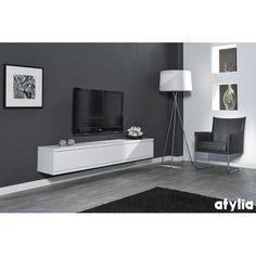 Meuble suspendu blanc achat vente meubles suspendus for Meuble tv suspendu fly
