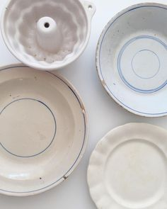 "odettewilliams: ""Look at these pretty finds I picked up in Palma! First time I'd seen a small ceramic bundt. Not sure if it will give a good bake? I'll report back. Loved the vintage indigo that was. I Pick, White Dishes, First Time, Plates, Ceramics, Baking, Tableware, Pretty, Indigo"
