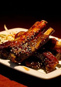 Slow cooker sesame pork ribs.Pork ribs with soy sauce,ketchup and ...