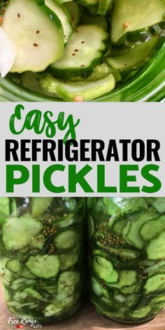 Have a lot of cucumbers from your vegetable garden but don't feel like canning? Check out this recipe for refrigerator pickles! Super easy recipe and process that gives a great result- just like bread and butter pickles! Fun Easy Recipes, Easy Meals, Healthy Meals, Healthy Eating, Bread & Butter Pickles, Refrigerator Pickles, Cucumber Recipes, Canning Recipes, Vegetarian Recipes