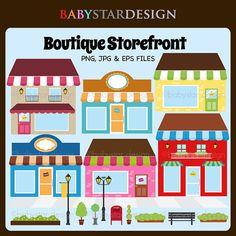Boutique Storefront 2 Clipart INSTANT DOWNLOAD