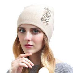 a90f49f3bd5 Button fleece beanie hat for women casual winter hats outdoor wear ...