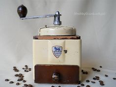Peugeot quality coffee grinder, French vintage 1950s coffee mill, adjustable forged steel grinder, fit for use, white shabby chic hand mill