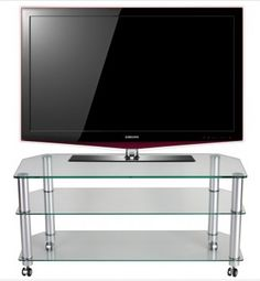 "Stil Stand Glass TV Stand / TV Trolley up to 50"" STUK1402 CL/CA.       Suits up to 50"" LCD/Plasma TV.     Glass Shelves.     Toughened Safety Glass.     Aluminium Legs.     All of our glass TV stands are compatible with most popular brands of television.  Dimensions: 1075mm (w) x 400mm (d) x 507 (h) mm.        STUK1402 CL/CA."