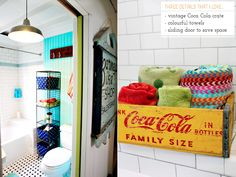 Serious digging this colorful bath! Bright.Bazaar: Colourful Industrial Bathroom Makeover