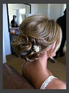 Curled back formal updo for medium length hair