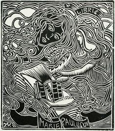 Výsledek obrázku pro ex libris váchal Ex Libris, Davidson Galleries, Aviation Art, Wood Engraving, Military Art, Antique Books, Original Image, Illustrators, Auction