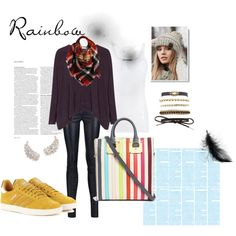 Rainbow by wevinka on Polyvore featuring Vince, Alice + Olivia, adidas Originals, Sophie Hulme, Charlotte Russe, CC, Sylvia Alexander and ASOS
