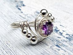 Purple Cubic Ziconia Ring Wire Wrapped in Sterling Silver