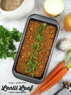 Lentil Loaf is a terrific main dish for holiday celebrations. Smother this vegan meatloaf with lots of cashew gravy for the ultimate comfort food dinner! This easy recipe is vegan and gluten-free.